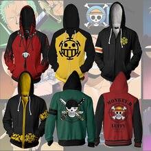 Sudaderas con capucha de una pieza para mujer, Sudadera estampada 3D de Anime, mono, Luffy, Sabo Shanks Law, traje de chándal de batalla, ropa de abrigo informal