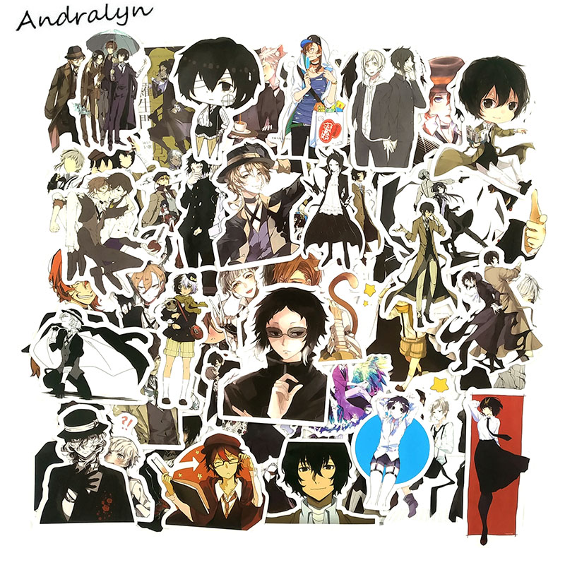 50Pcs/Set Bungou Stray Dogs Stickers Japanese Anime Stickers For DIY Luggage Laptop Refrigerator Motorcycle Car Pegatinas