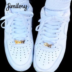 Jimilory Custom Name Shoe-buckle Stainless Steel Personalized Letters Buckie for Adults Kids Leisure Sneakers Shoe Tags
