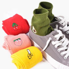 Women's autumn winter avocado banana pattern cotton socks Harajuku fashion casual color fruit socks funny happy cute crew socks women s autumn winter casual cotton crew socks fruit cartoon food watermelon banana breathable socks funny happy cute tide socks