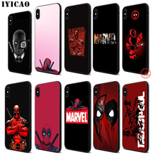 IYICAO Marvel Hero Deadpool Soft Black Silicone Case for iPhone 11 Pro Xr Xs Max X or 10 8 7 6 6S Plus 5 5S SE iyicao marvel comics the black panther soft black silicone case for iphone 11 pro xr xs max x or 10 8 7 6 6s plus 5 5s se