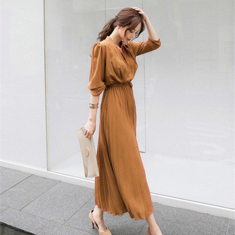 Женское платье, весеннее, плиссированное, модное, новинка 2020, клетчатое, тонкое, с высокой талией, длинное, темпераментное, офисное, женское п...