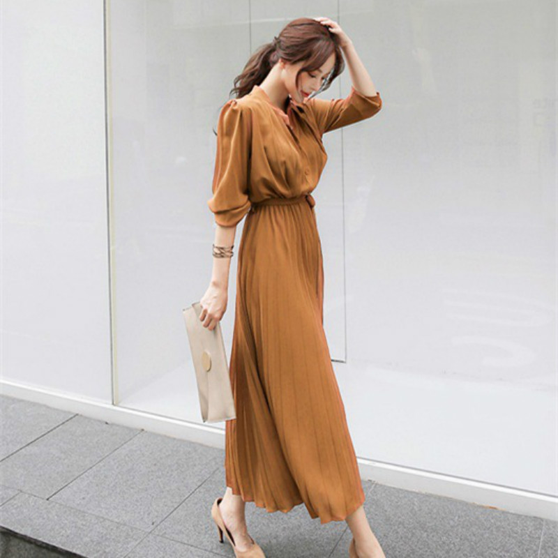 Women's Dress Spring Pleated Fashion 2020 New Plaid Slim High Wasit Long Temperament Office Female Dresses Long Sleeve Casual