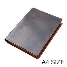 Cuaderno de negocios clásico A4, cubierta de cuero genuino, agenda de hojas sueltas, diario de viaje, planificador de bocetos