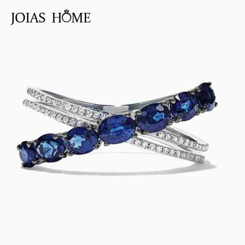 Color Azul Piedra Cz AAA banda con estilo para Mujer Boda Anillo De Plata 925 Talle 6-10