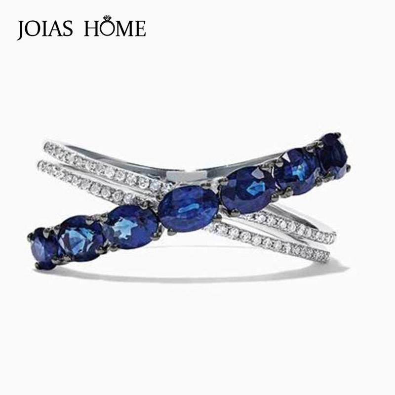 JoiasHome Sapphire Gemstone Ring For Charm Lady Aaa Zircon Ring Women Party Gift Wholesale Size 6-10 Women Wedding Gift