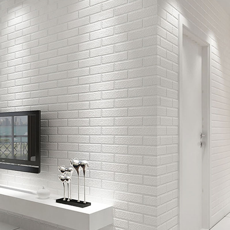 Современные обои из ПВХ и кирпича, водонепроницаемые объемные стереоскопические белые кирпичи, фоновая наклейка для гостиной, коридора, ле...