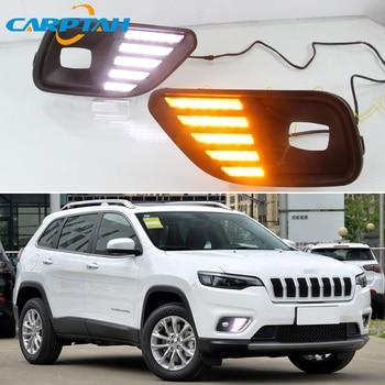 LED Daytime Running Light For Jeep Cherokee 2019 2020 Waterproof 12V Yellow Turn Signal Indicator Light Bumper Lamp LED DRL