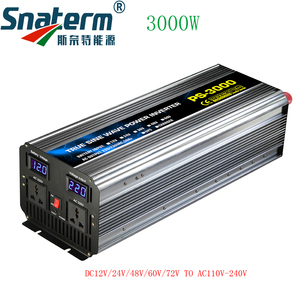 3000W Pure Sine Wave Power inverter DC12/24/48/60/72V to AC220/230/240V 50HZ60HZ off grid inverter with ac charger UPS function
