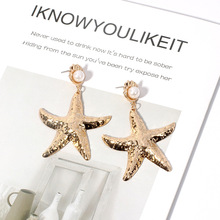 Gold Alloy Shell Pearl Earrings  Long Tassel Vintage Jewelry Women Accessories Exaggerated Starfish
