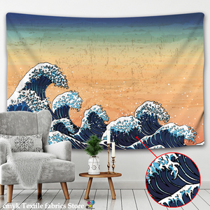 hippie decor Tapestry Wall Hanging Great Wave Kanagawa Wall Tapestry with Art Nature Home Decorations for Living Room Bedroom