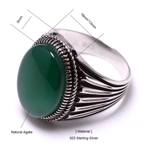 Image 5 - Real Pure 925 Sterling Silver Turkish Rings For Men Hollow Retro Rings With Stones Black Red Onyx Original Color Anelli Uomo
