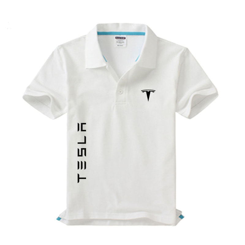 New Tesla Logo Men's Polo Shirt High Quality Men Cotton Short Sleeve Shirt Brands Jerseys