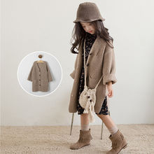 Girls sweater cardigan 2019 new autumn childrens middle and long thick knit coat