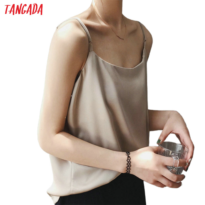 Tangada  Women Solid V Neck Camis Top Spaghetti Strap Sleeveless Shirts Female Tops High Quality  ASF43