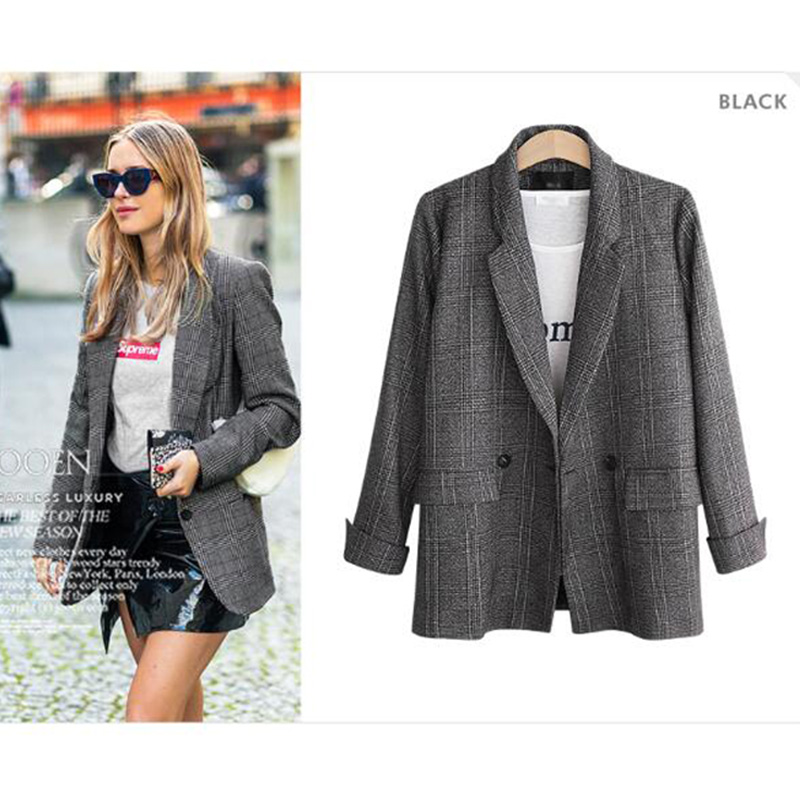Moxeay Women Plaid Blazer Jacket Retro Suits Coat Pocket Vintage Jacket Long Sleeve Female Linen Loose Blazer Office Ladies 2019 in Trench from Women 39 s Clothing