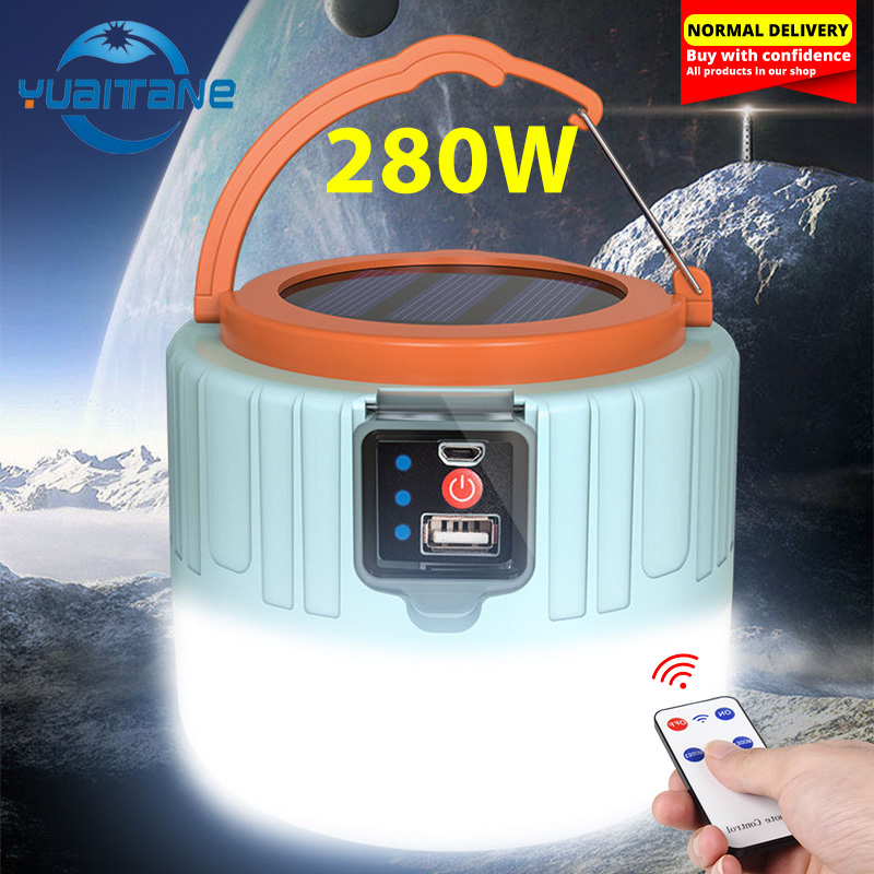 Newest 280W Camping Light Solar Outdoor USB Charging 3 Mode Tent Lamp Portable Lantern Night Emergency Bulb Flashlight For BBQ