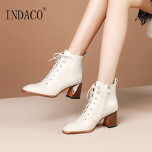 Womens Boots Leather Fashion Women Winter Black Off White 6.5cm