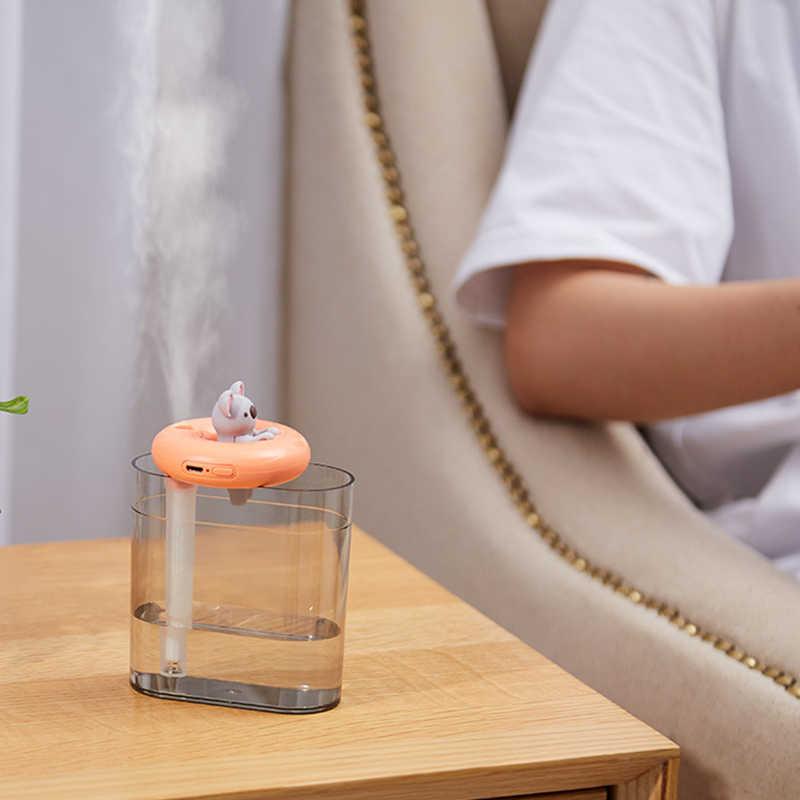 Casa aparelhos usb umidificador anel de natação bonito pet ultra sônica névoa fria aroma difusor do óleo ar cor romântica lâmpada led