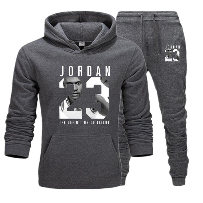 New 2019 Brand Tracksuit Fashion JORDAN 23 Men Sportswear Two Piece Sets Cotton Fleece Thick Hoodie+Pants Sporting Suit Male 3XL