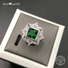Shipei 100% 925 Sterling Silver Luxury Emerald Ruby Sapphire Princess Square Engagement Wedding Ring for Women Anniversary Gift shipei 100