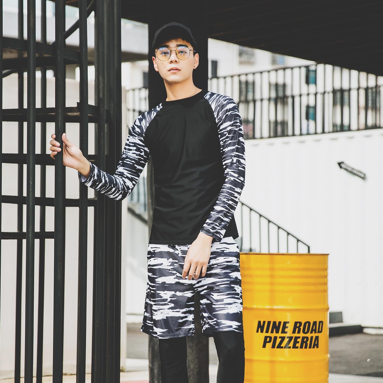 2019 New South Korea Long Sleeve Split Type Beach Shorts Men Swimsuit Running Man Sun-resistant Casual Swimwear Olive Flower 194