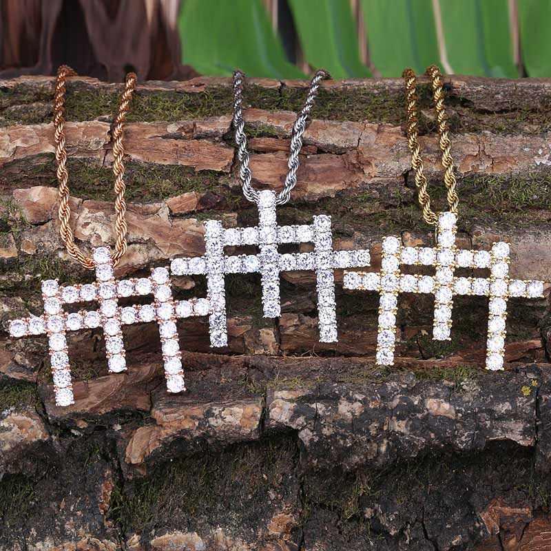 TOPGRILLZ AAA Cubic cyrkon Shining jednolity z powrotem Gunna krzyż wisiorek naszyjnik z tenis łańcuch Hip Hop biżuteria dla mężczyzna prezent