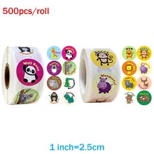 Cute Reward Sticker for Kids 500pcs/roll Encourage Words 1inch Motivational Stickers Labels With Animals for Reward Student Kids