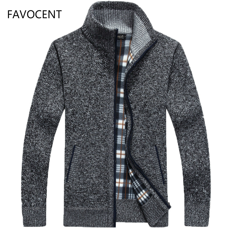 2019 Autumn Winter Men's Sweater Coat Faux Fur Wool Sweater Jackets Men Zipper Knitted Thick Coat Warm Casual Knitwear Cardigan