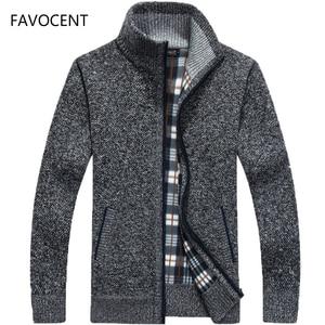 Image 1 - 2020 Autumn Winter Mens Sweater Coat Faux Fur Wool Sweater Jackets Men Zipper Knitted Thick Coat Warm Casual Knitwear Cardigan