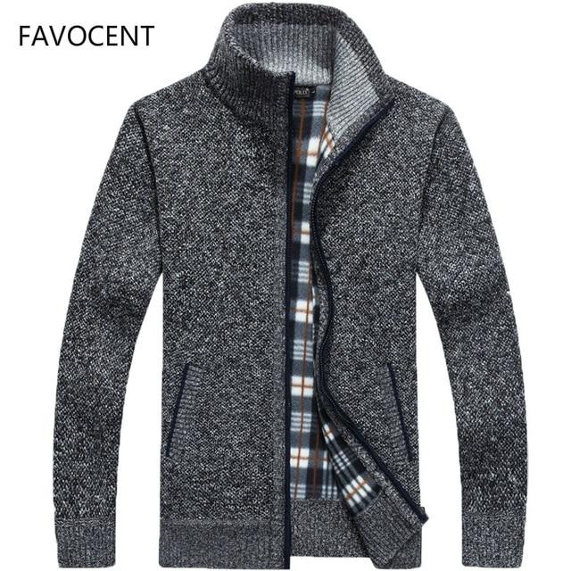 2020 Autumn Winter Mens Sweater Coat Faux Fur Wool Sweater Jackets Men Zipper Knitted Thick Coat Warm Casual Knitwear Cardigan