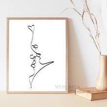 Абстрактный поцелуй для пары Однолинейный рисунок Печать Любовь