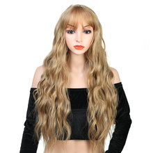 Pageup 26 longa onda loira peruca sintética com franja para branco/preto feminino cor pura fibra de alta temperatura peruca cosplay
