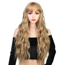 Pageup 26 rubia larga peluca sintética con ondas con flequillo para mujeres blancas/negras Color puro Peluca de Cosplay de fibra de alta temperatura