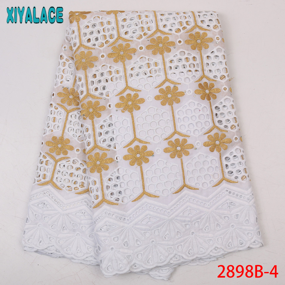 Latest White And Gold Lace,African Dry Lace 2019 Fabrics,High Quality Milk Silk Cotton Lace Fabric For Dresses KS2898B-4