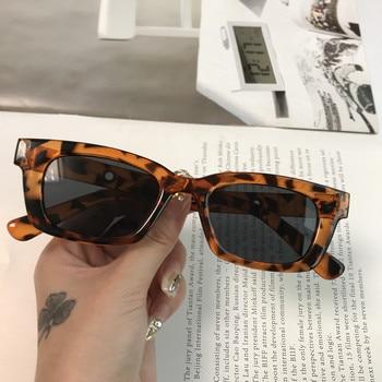 2021 New Women Rectangle Vintage Sunglasses Brand Designer Retro Points Sun Glasses Female Lady Eyeglass Cat Eye Driver Goggles - Leopard