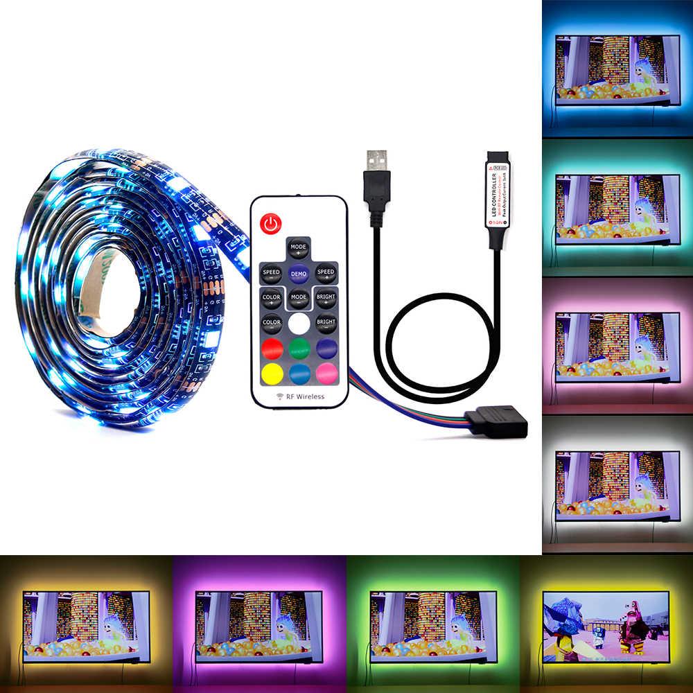 DC 5V USB LED franja de RGB impermeable 5050 luz LED Flexible cinta 50CM 1M 2M controlador de música 3M para iluminación de fondo de TV