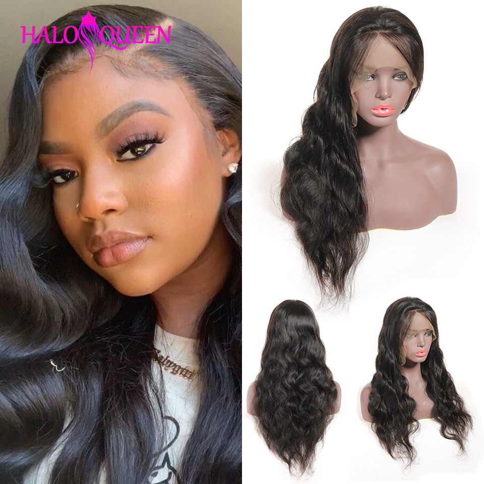 HALOQUEEN 13X4 Lace Closure Malay Human Hair Wigs Body Wave  Wigs Pre Plucked Baby Hair 8- 22 Inch Non Remy Human Hair Lace Wigs