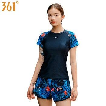 361 Tankini Swimsuits for Women Girls Sports Tankini Swimwear Two Pieces Bathing Suit fro Surfing Swimming Short Sleeve Boyleg фото