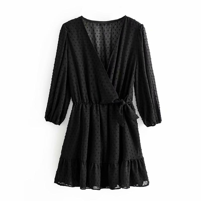 2020 Summer Women Ruffles Lace Chiffon Dress Boho Mini Beach Dress Three Quarter Sleeve Ladies Party Dresses Vestido 9