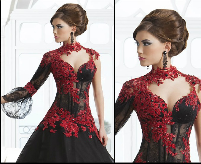 Arabian Design Black And Red High Collar Appliqued Beaded Sheer Back Long Sleeve Puffy Evening Mother Of The Bride Dresses