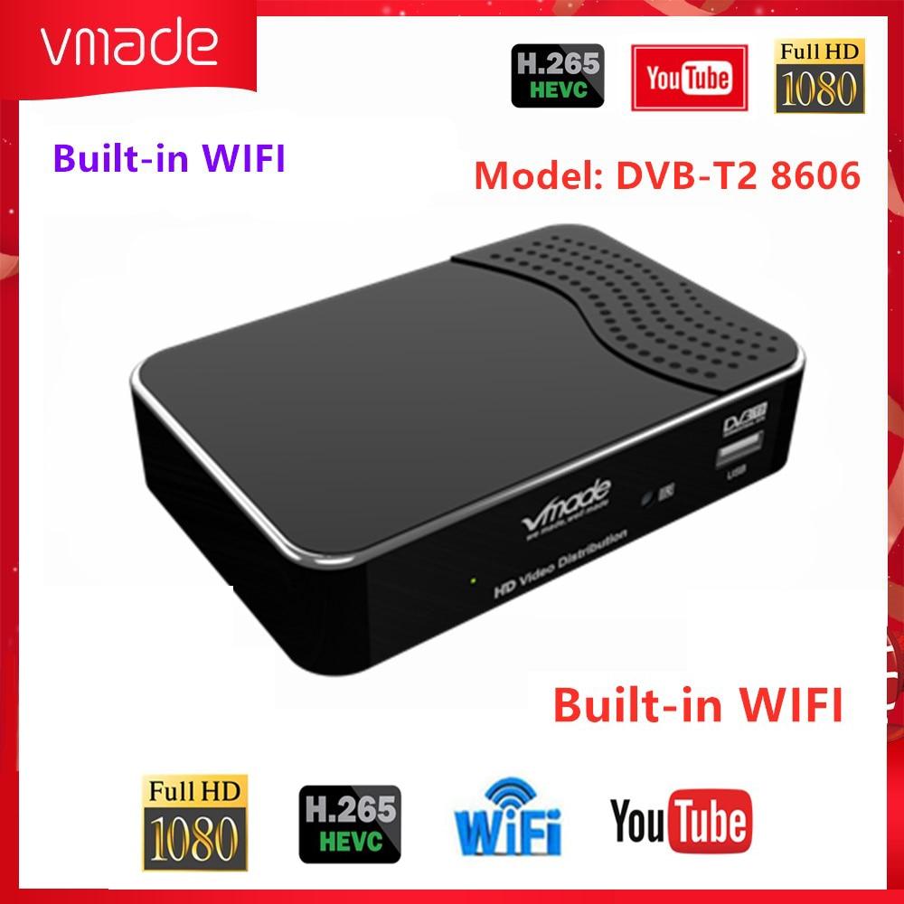 Newest HDMI 1080p DVB T2 Digital Terrestrial TV Receiver Tuner Support H.265/HEVC YouTube Built-in WIFI DVB T2 T3 Set Top Box