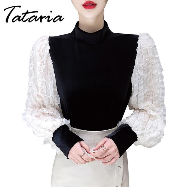 Women Tops And Blouses With Lace Vintage Women Golden Velvet Lantern Long Sleeve Shirt Elegant streetwear Fashion tops spring 5
