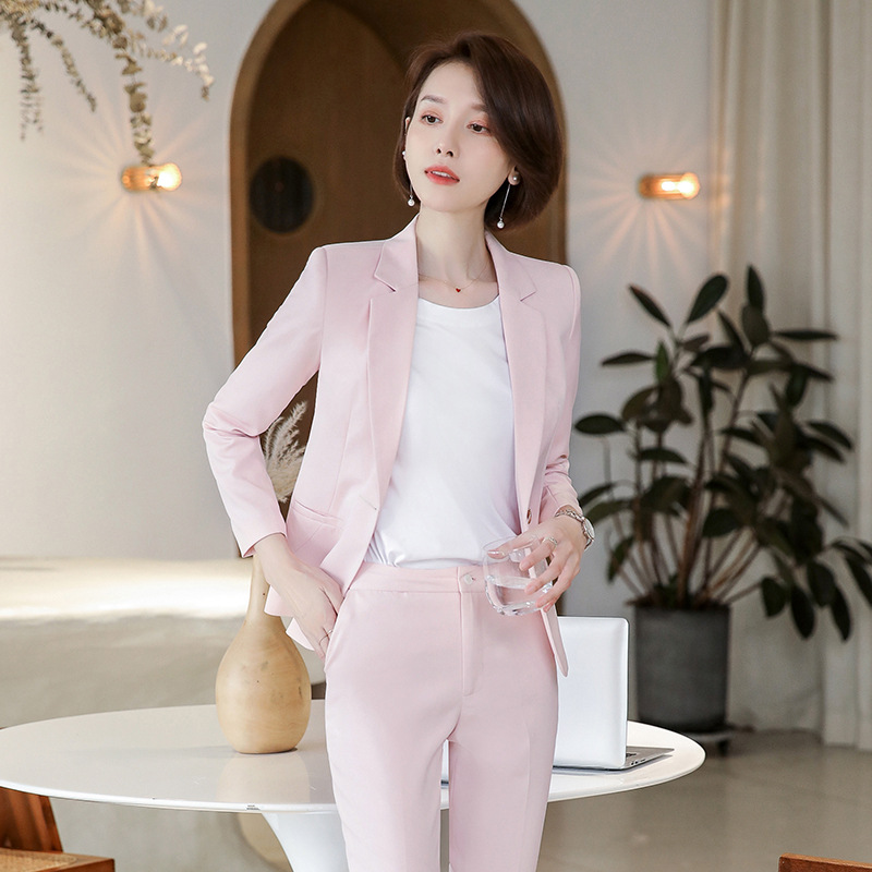 Business Office Ladies Suit Early Autumn New OL Fashion Pink Blazer Women's Style Slim Pants Set Two-piece 2019 Women's Suit Set