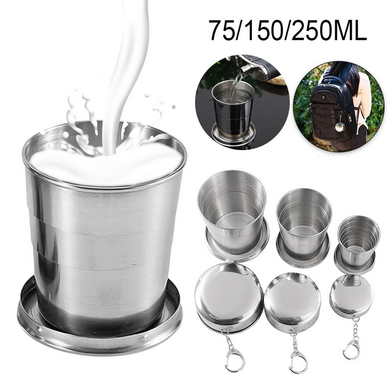 Folding-Cup Collapsible Cups Retractable Stainless-Steel Outdoor with Keychain Telescopic