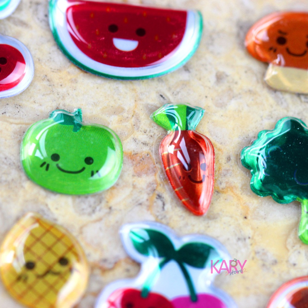 Fruits Vegetables Plants Mushrooms Watermelon Carrot Scrapbooking PVC 3D Stickers High Quality Cute Gift Reward Kids Children