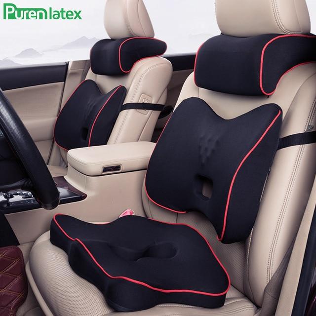 Gomma Piuma di Memoria di Purenlatex 3Pcs Set Cuscino Auto Poggiatesta Del Sedile Posteriore Cuscino di Protezione Del Collo Vertebra Cervicale Auto Supporto Della Vita Lombare