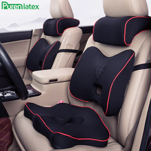 PurenLatex Memory Foam 3Pcs Set Car Pillow Headrest Seat Back Cushion Protect Neck Cervical Vertebra Auto Support Waist Lumbar