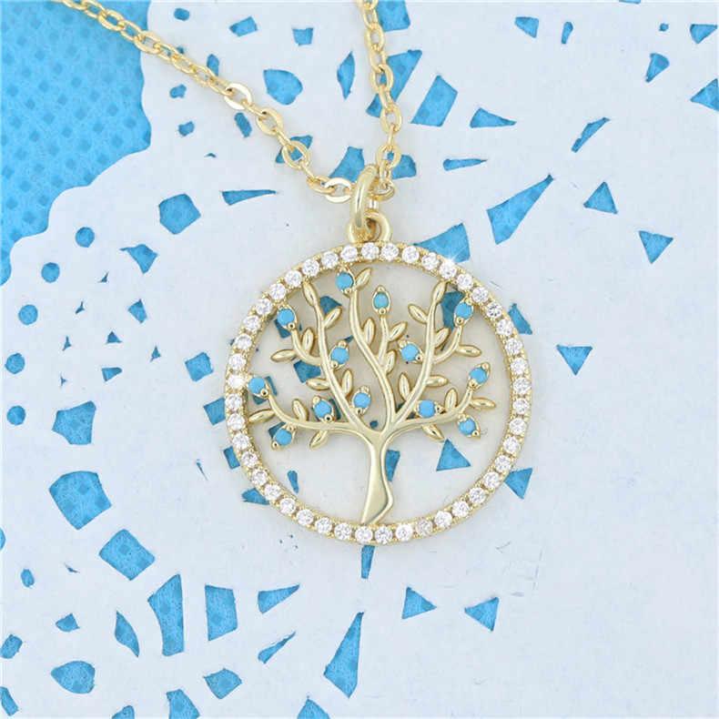Sa Silverage Zircon Pohon Kehidupan Kalung 14 K Gold-Plated Bulat Liontin Kalung untuk Wanita Banyak Massal 2019 Gaya Baru