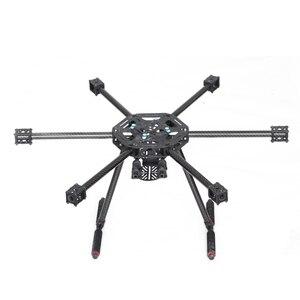 Marco LJI X600-X6 X6 600mm X600 FPV hexacóptero con equipo de aterrizaje de fibra de carbono, versión mejorada para F450 S550 multicóptero con radio control